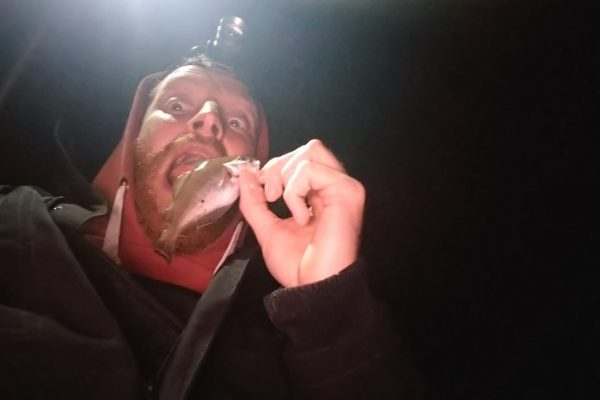 Jeff, vissen op zee