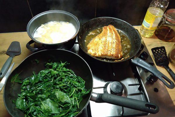 Jeff, Zalm, met pasta en spinazie, bereiden